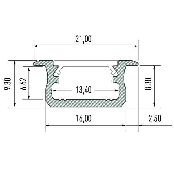 Įfrezuojamas LED profilis B matmenys