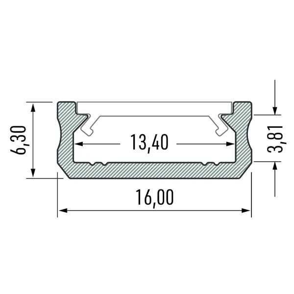 Paviršinis LED profilis D matmenys
