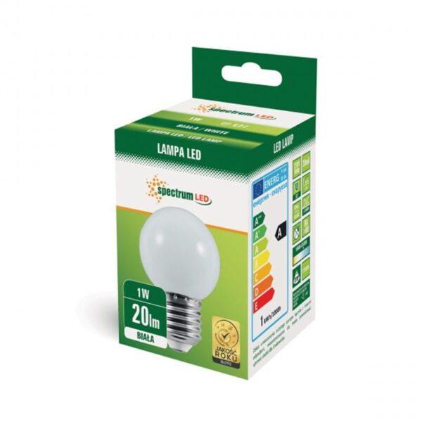 1W E27 LED lemputė BULB balta
