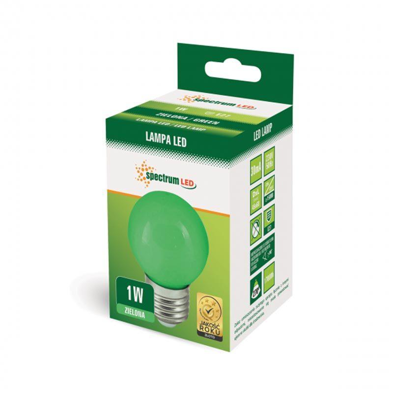 1W E27 LED lemputė BULB žalia