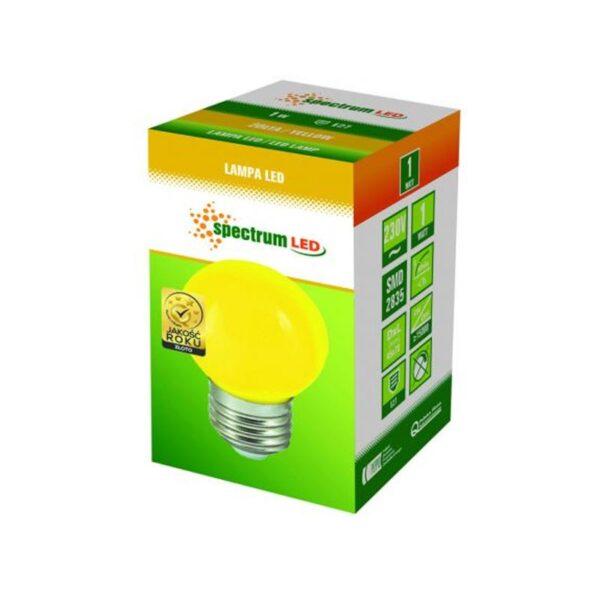 1W E27 LED lemputė BULB geltona