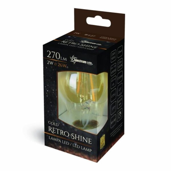 2W E27 LED lemputė COG Retro box