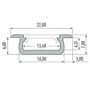 Įfrezuojamas LED profilis Z matmenys