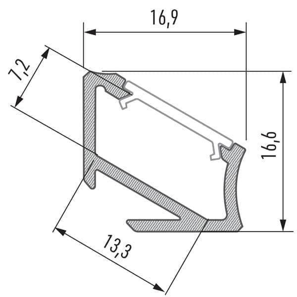 Kampinis LED profilis H matmenys