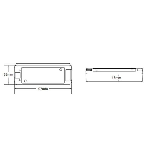 LED juostos valdiklis V1 matmenys