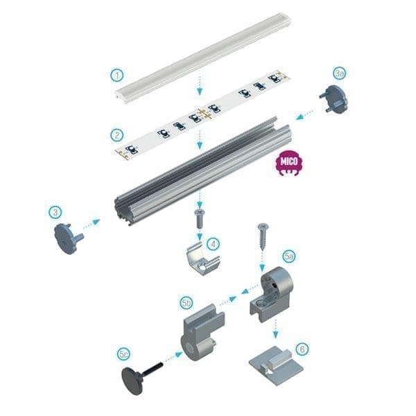 Apvalus LED profilis MICO4