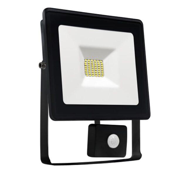 20W LED prožektorius LUX juodas su davikliu