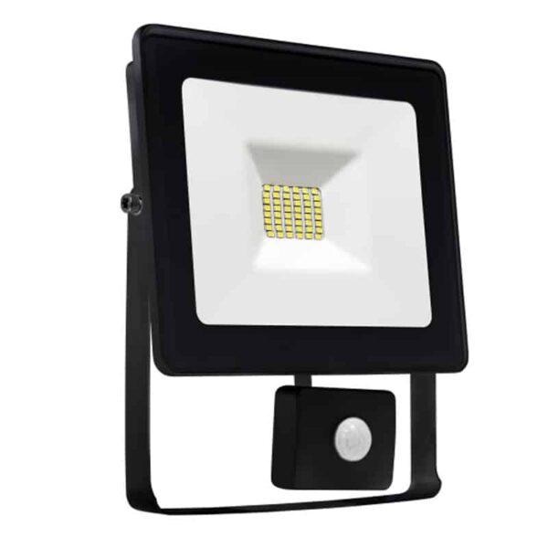 10W LED prožektorius LUX juodas su davikliu