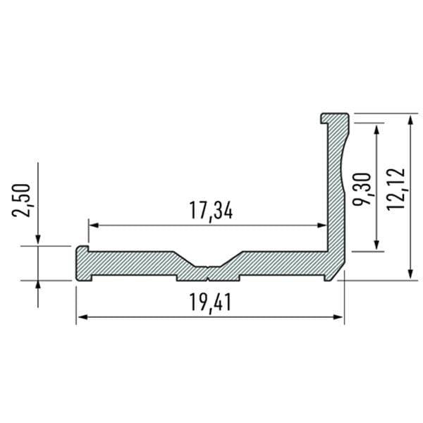 Paviršinis LED profilis E matmenys