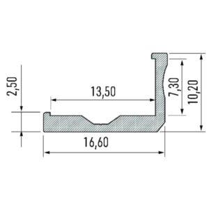 Paviršinis LED profilis F matmenys
