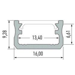 Paviršinis LED profilis A matmenys