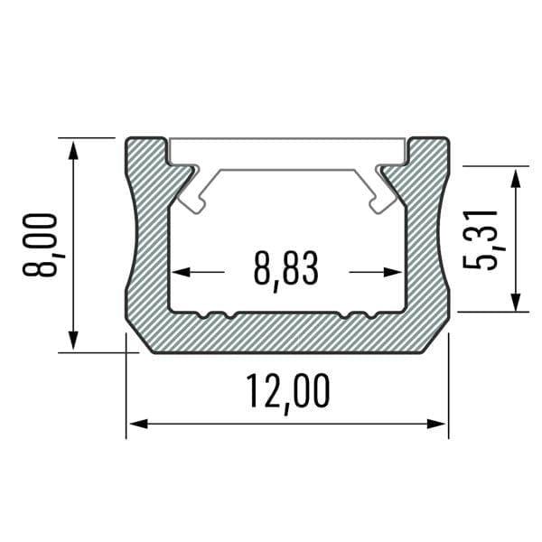 Paviršinis LED profilis X matmenys