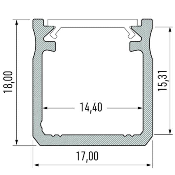 Paviršinis LED profilis Y matmenys