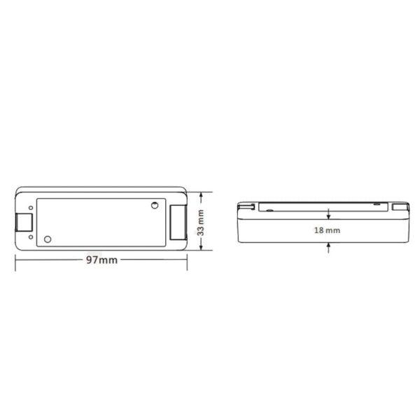 RGB LED juostu valdiklis V3 matmenys