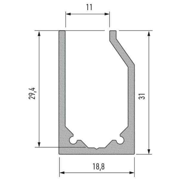 Stiklo LED profilis I10 matmenys