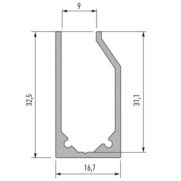 Stiklo LED profilis I6 matmenys