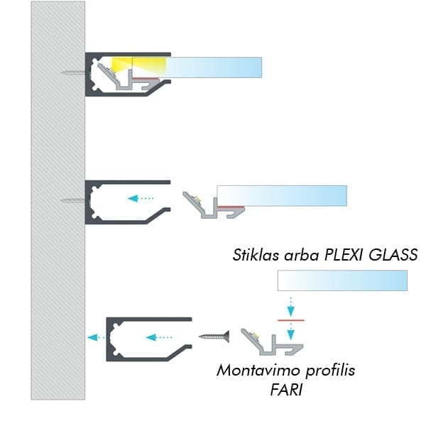 Stiklo LED profilis I10 2