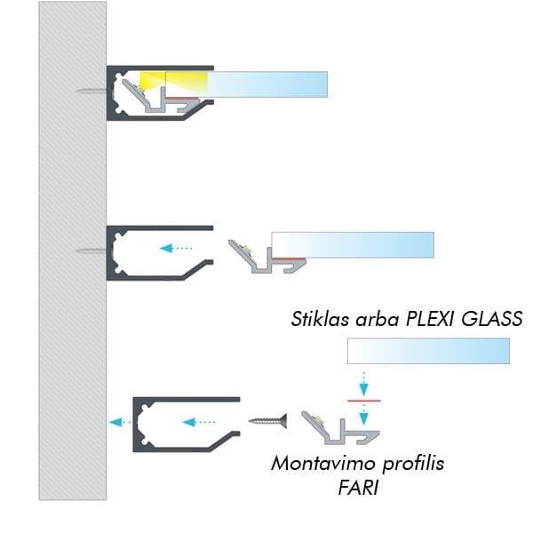 Stiklo LED profilis I6 2