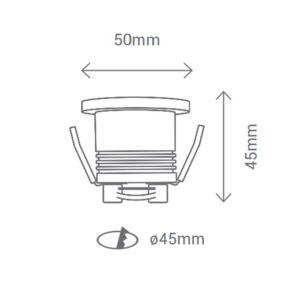 5W Įmontuojamas LED šviestuvas MINIDOT m