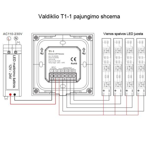 Sieninis sensorinis LED valdiklis T1-1 pajungimas