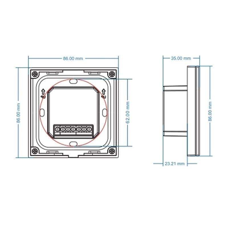 Sieninis rotorinis LED valdiklis T1-KB matmenys