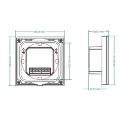 Sieninis sensorinis LED valdiklis T1-1 matmenys
