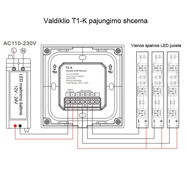 Sieninis rotorinis LED valdiklis T1-KB pajungimas