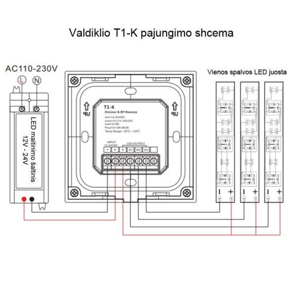Sieninis rotorinis LED valdiklis T1-K 3