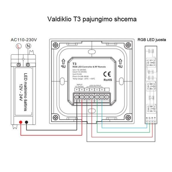 Sieninis sensorinis RGB LED valdiklis T3B pajungimas