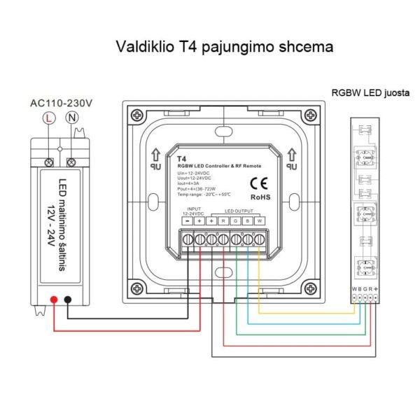 Sieninis sensorinis RGBW LED valdiklis T4 pajungimas