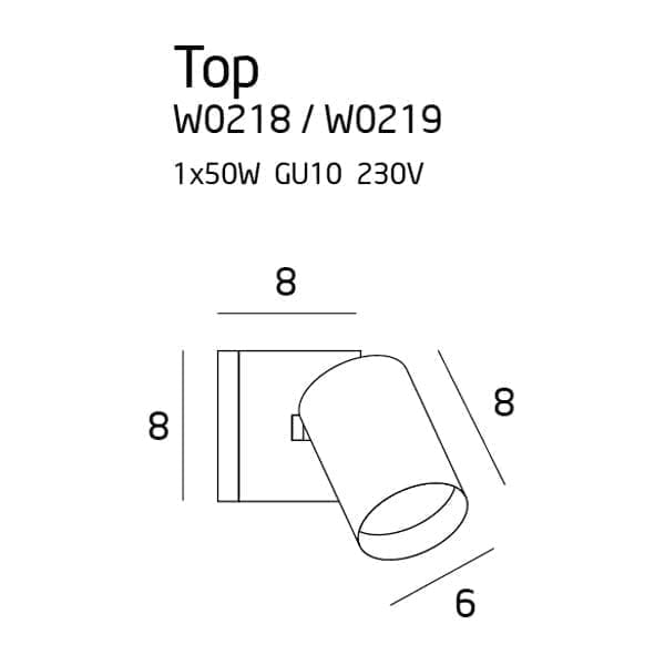 Sieninis šviestuvas TOP 1 baltas