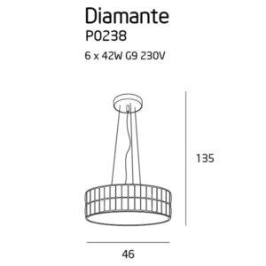 Pakabinamas šviestuvas Diamante ⌀46