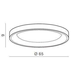 Medinis LED šviestuvas Silvam TOP65 matmenys