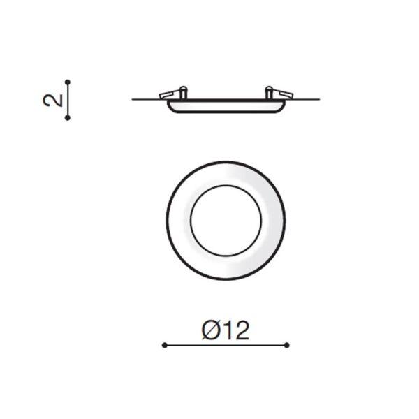 6W Įmontuojamas LED šviestuvas LINDA RA>90 matmenys