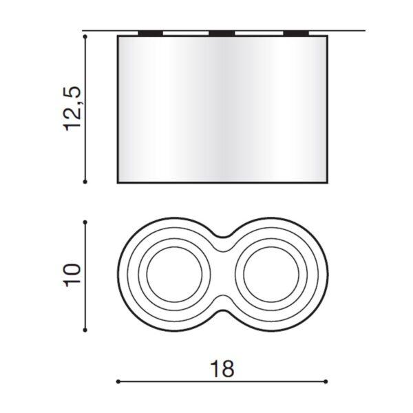 Lubinis šviestuvas BROSS2 matmenys