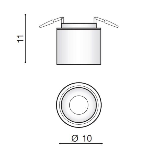 12W Lubinis LED šviestuvas COSTA SPOT matmenys
