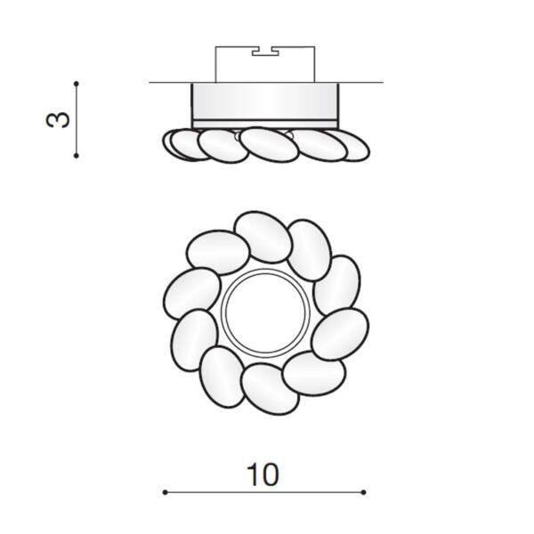 Įmontuojamas šviestuvas ERIKA matmenys