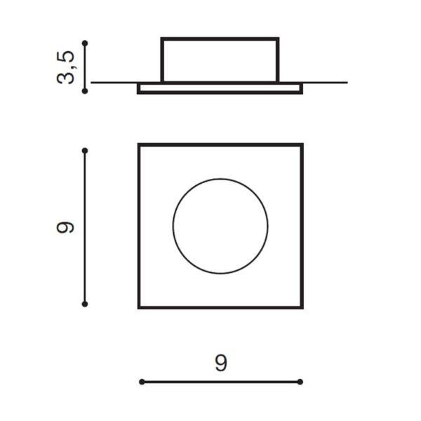 Įmontuojamas šviestuvas EZIO matmenys