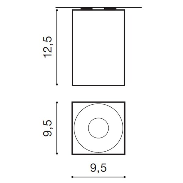 Lubinis šviestuvas HUGO matmenys
