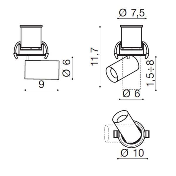 15W Įmontuojamas LED šviestuvas LUNA DIM matmenys