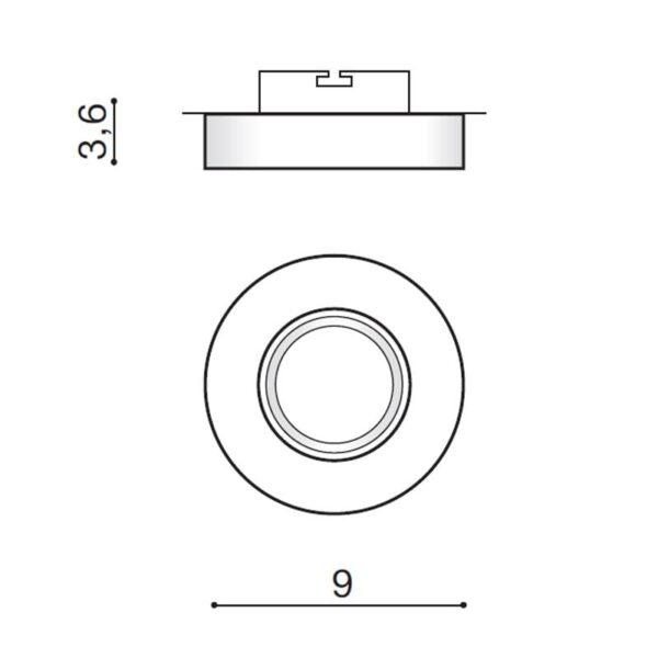 Įmontuojamas šviestuvas SAVIO R matmenys