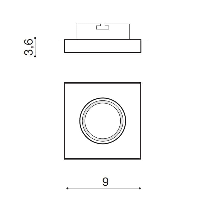 Įmontuojamas šviestuvas SAVIO SQ matmenys