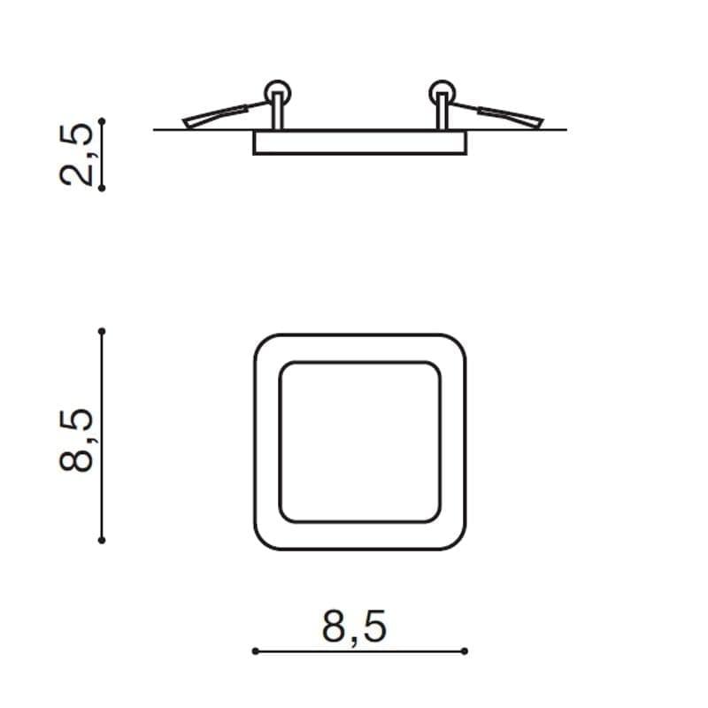 Įmontuojamas šviestuvas SLIM SQ IP44 matmenys