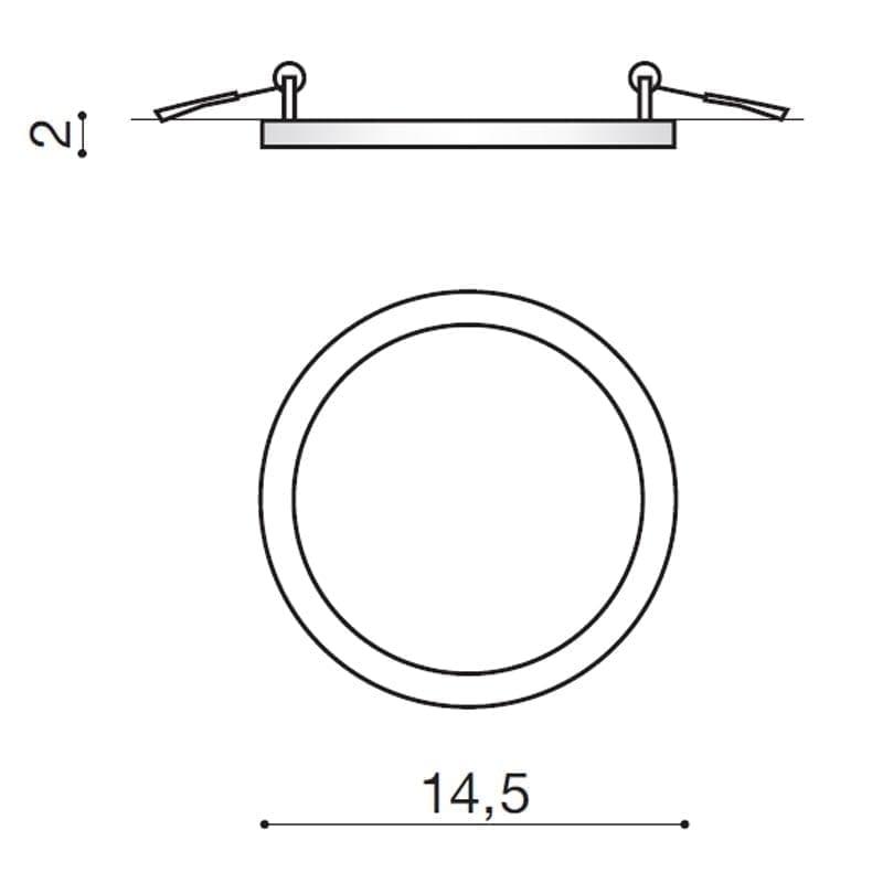 Įmontuojamas šviestuvas SLIM R2 IP44 matmenys