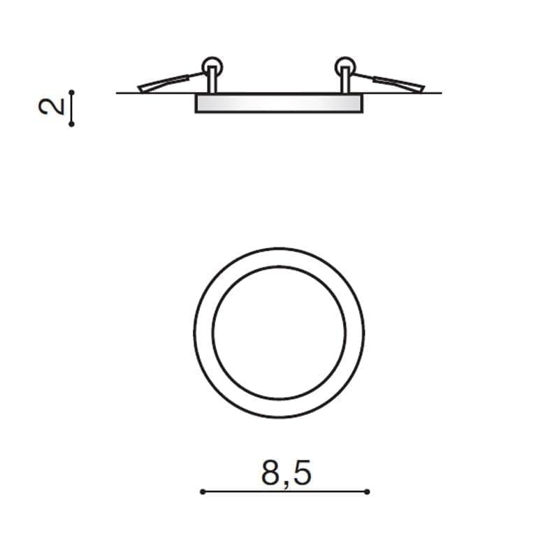 Įmontuojamas šviestuvas SLIM R IP44 matmenys