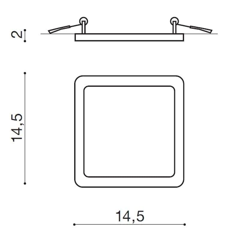 Įmontuojamas šviestuvas SLIM SQ2 IP44 matmenys