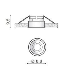 Įmontuojamas šviestuvas TORRES matmenys