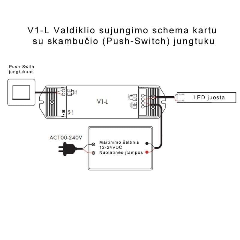 LED juostų valdiklis V1-L 15A pajungimas