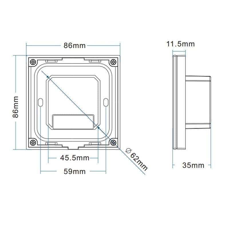 Sieninis sensorinis LED valdiklis T16-1 matmenys