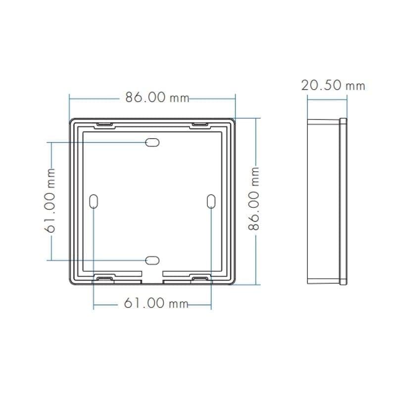 Išorinis sensorinis LED valdiklis T20-1 matmenys